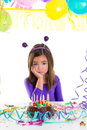 image photo : Asian child sad bored kid girl in birthday party
