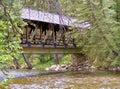деревянный крытый мост над рекой Стоковое Изображение