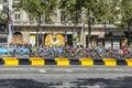 женственный peloton в париже курсе ла le тур ? е франс Стоковая Фотография RF