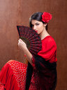 image photo : Flamenco dancer woman gipsy red rose  spanish fan