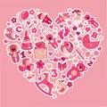 забав яется значки   я ребёнка в цветах heart pink Стоковая Фотография RF