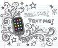 задняя школа телефона pda doodle клетки установила для того чтобы vector Стоковая Фотография