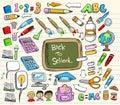 задняя школа doodle установленная к Стоковое Фото