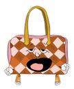 зевая шарж сумки женщины Стоковые Изображения