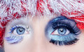 image photo : Christmas concept eye makeup winter