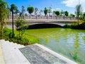 Каменный мост в саде Стоковое фото RF
