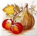 персик и вино Стоковое Изображение