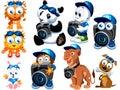 персонажи из мультфильма Стоковые Изображения RF