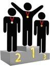 подиума места пожалований победители первого вторые третьи Стоковые Фото