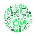 приурочьте значки темы современные простые зе? еные в круге eps Стоковые Фотографии RF