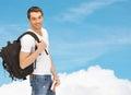 путешествовать сту ент с рюкзаком и книгой Стоковые Фото