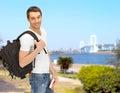 путешествовать сту ент с рюкзаком и книгой Стоковая Фотография