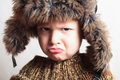 ребенок в мехе hat fashion winter style little boy children Стоковое Изображение RF