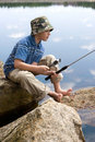 рыболовство мальчика Стоковые Изображения RF