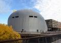 Самомоднейшее зодчество в городском Almere, Голландии Стоковое фото RF