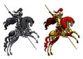 сhampion knight on a horseback illustration victorious with lance horse stand up its hind legs in two alternative colour version Stock Photography