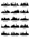сity ​​silhouette vector set of silhouettes of a city of peace Stock Image