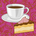 сoffee and chocolate сake cake coffee cup of piece the Stock Photo