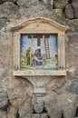 сrucifixion of the christ ceramic tile on house wall deia spain Royalty Free Stock Photography