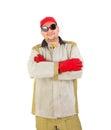 усмехаясь сварщик в оружиях крестов стеке Стоковая Фотография RF