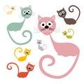 установ енная котами и  юстрация вектора Стоковые Фотографии RF