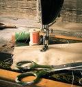 шить швейная машина и инструменты Стоковое Изображение RF