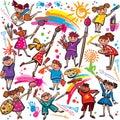 与刷子和五颜六色的蜡笔的愉快的孩子 免版税图库摄影