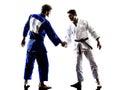 与握手人剪影战斗的judokas战斗机 免版税库存照片