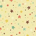 与星的欢乐五颜六色的无缝的样式 免版税库存照片