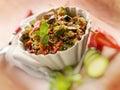 与菜的奎 亚藜沙拉,选择聚焦 免版税图库摄影