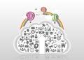 与象的现 云彩加载 也corel凹道例证向量 库存图片