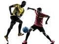 两个人足球运动员常设剪影 图库摄影