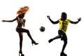 两个 西人足球足球运动员桑 舞蹈家 免版税图库摄影