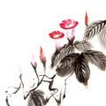 中国花绘画 免版税库存图片