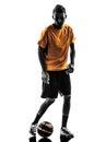 人足球运动员剪影 库存图片