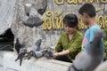 人 哺 食物对鸟 图库摄影
