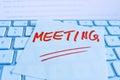 关于键盘的笔记:见面 免版税图库摄影