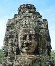 古老高棉石雕 在bayon的trimurti 免版税库存图片
