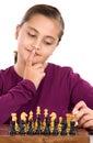 可爱的棋女孩一点playing 免版税图库摄影