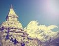 喜马拉雅山山在尼泊尔,减速火箭的作用 库存图片