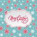 圣诞快乐与雪花的 卡 免版税图库摄影