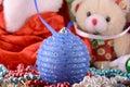 圣诞节球,新 ,玩具熊 免版税库存图片