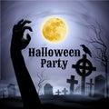 在一个鬼的坟园的万圣夜党在 月下 库存图片