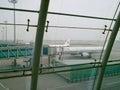 在围裙停放的中国国际航空航空器 图库摄影