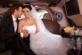 在婚礼日的新夫妇 库存图片