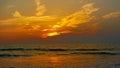 在日落的光亮的天空。自然抽象背景。morjim海  库存图片