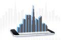 在智能手机屏幕上的城市风景 免版税库存照片