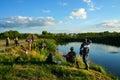 在渔的体育竞赛在捉住鲤鱼和鲟鱼,湖的渔夫 库存图片