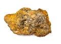 在白色背景的红土带。 铝矿石 免版税库存照片