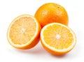 在白色隔 的切的橙色果子 免版税库存图片